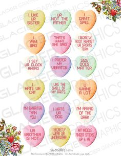 Valentine Candy Hearts, Anti Valentines Day, Valentine Cookies, Funny Valentine, Valentines Baking, Funny Candy, Wine Bottle Charms, Heart Shaped Candy, Heart Day
