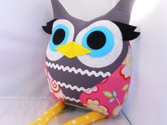 Handmade stuffed toy owl pillow owl plush by karensagez on Etsy, $32.00