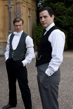 At Downton Abbey, even the servants look especially dapper in their vests: Ed Speleers as Jimmy Kent and Rob James-Collier as Thomas Barrow.