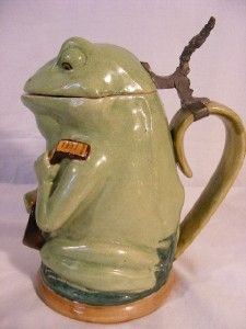 Antique German Pottery Beer Stein Frog Playing Banjo...................d