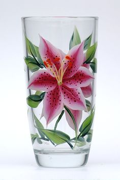 Spectacular pink and white stargazer petals with deep burgandy speckling and deep green leaves hand-painted encircling a quality ounce tumbler glass Wine Glass Crafts, Bottle Crafts, Bottle Painting, Bottle Art, Mosaic Glass, Glass Art, Painting On Glass Windows, Painted Glass Vases, Hand Painted Wine Glasses