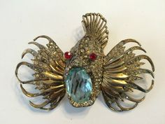 Coro Craft Sterling Vermeil  Jelly Belly Rock Blow Fish Brooch Adolph Katz #Corocraft