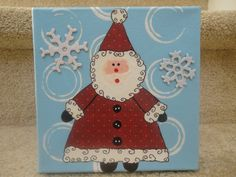 Little Snowy Santa Mixed Media Collage on a 6x6 by GlimmerbugArt, $16.99