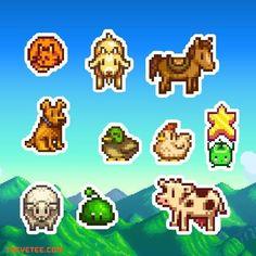 Stardew Sticker Pack by The Yetee Hama Beads, Perler Bead Art, Beaded Cross Stitch, Cross Stitch Patterns, Pokemon, Pixel Art Templates, Pixel Art Games, Pixel Pattern, Iron Beads
