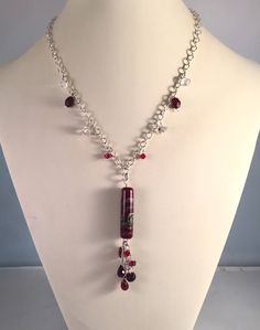 Sterling Silver chain and wire necklace with Garnet, Herkimer Diamonds and an original Carolyn Crystal handmade pendant bead by StonesToAdorn on Etsy