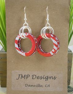 Recycled Pop Can Art | Recycled Soda Can Art. SMALL Circle Earrings . DOUBLE-sided. Coca Cola