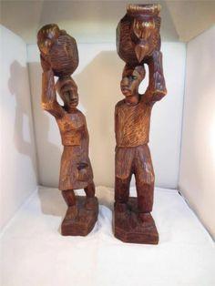 """AFRICAN ART 1 pr. Bearer Woman & Man w Birds CARVED WOOD Sculptures 16"""" High"""