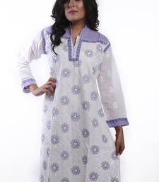 Buy Ada Hand Embroidered White Extra Large Cotton Lucknow Chikan Long  Kurti long-kurti online