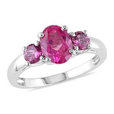 Oval Lab-Created Pink Sapphire & Pink Tourmaline Three Stone Ring In Sterling by JewelryHub on Opensky