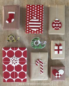 Christmas gift wrap inspiration red and brown paper. stockings, candy canes, gifts and decorations.