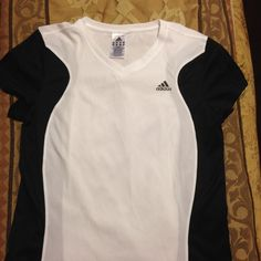 ADIDAS ATHLETIC SHIRT 100% polyester V-neck. Black and white breathable athletic shirt. Adidas Tops