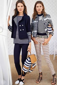 Au contraire: High-contrast ivory and navy meets graphic print-on-print | Tory Burch Spring 2014
