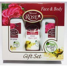 Set cadou: sampon, lotiune corporala, crema faciala zi/noapte ce curata, hidrateza , incetineste imbatranirea prematura a tenului, netezeste ridurile fine, stimuleaza regenerarea celulara, confera fermitate si o aroma deosebita