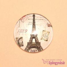 Eiffel torony mintás, 25 mm-es üveglencse • Gyöngyvásár.hu Personalized Items