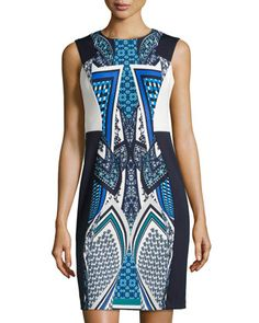 Mirror-Print+Sleeveless+Dress,+Blue/Multi+by+muse+at+Neiman+Marcus+Last+Call.