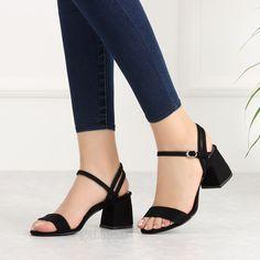 Zenifa Süet Siyah Kısa Topuklu Kadın Sandalet #black #heels #sandals Low Heel Shoes, Low Heels, Shoes Heels, Fashion Shoes, Fashion Accessories, Engagement Cakes, Outfit Combinations, Suede, Footwear
