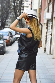 Black Leather High Waist Pants Casual Black Shorts Plus Size