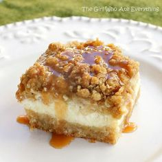 Caramel Apple Cheesecake Bars — cream cheese, sugar, eggs, vanilla, apples, cinnamon, nutmeg, brown sugar, flour, oats, butter, caramel topping