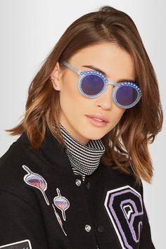 Freda Banana | Tosca round-frame embellished matte-acetate mirrored sunglasses | NET-A-PORTER.COM