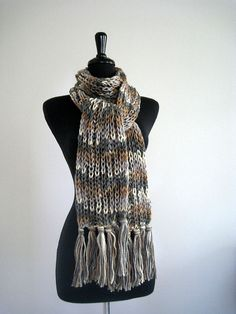 Gray Marble Color Knitted Scarf with Fringes by Knitsome Studio