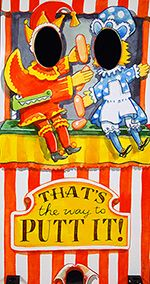 """Punch and Judy - traditional British seaside image from of seaside Punch and Judy show with revised golf themed strapline """"That's the way to putt it!"""".  Face in the hole boards for hire from www.pictureputt.co.uk"""