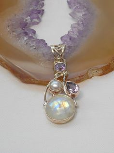 Moonstone Pendant 6 with Amethyst & Pearl