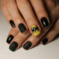 10 'Must-Try' Black and White Nails You Have to See! Batman Nail Designs, Batman Nail Art, Superhero Nails, Manicure, Aycrlic Nails, Marvel Nails, Holloween Nails, Nail Design Spring, Art Simple