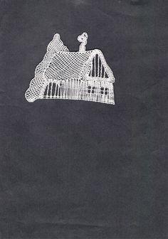 Zasněžená+chaloupka+II, - paličkovaná krajka, bobbin lace, autor: Lenka Maslova Spetlova, Hostinné, Atelier ROS ZEFYRA s.r.o.