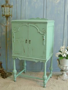 Mini Armoire Cabinet Dresser Antique Furniture for Display or Storage - Shabby Chic Distressed Aqua
