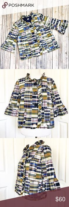 """J. Crew Madras Jacket Plaid, patchwork style jacket by J. Crew.  Features a 3 button closure with a ruffled neckline, 3/4 length bell sleeves, and 2 functional front pockets.  Jacket is in excellent condition.  Material of shell is 100% cotton.  Material of Sleeve lining is 65% polyester and 35% cotton.  Measurements laid flat: bust 18"""" and length from top of shoulder to hem 22.5"""". J. Crew Jackets & Coats"""
