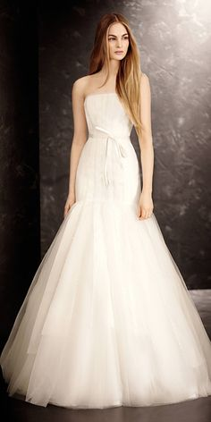 d2399c51cfa5 Strapless Fit and Flare Gown - White by Vera Wang Fall 2013 Bridal  Collection - InStyle