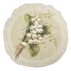 Lily of the valley & lace floral vintage pillow round pillow
