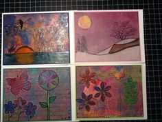 Sunset bird, Snow-purple Sky, & Script Flowers with Butterflies & Flowers. Handmade A7 cards using Gelli plate and mixed media.