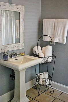 Paint color- BM Feather Gray, love this look, white pedestal sink and grayish-blueish walls would look good with a hammered mirror Guest Bathrooms, Upstairs Bathrooms, Downstairs Bathroom, Laundry In Bathroom, Bathroom Storage, Small Bathroom, Bathroom Ideas, Bathroom Designs, Bathrooms With Pedestal Sinks