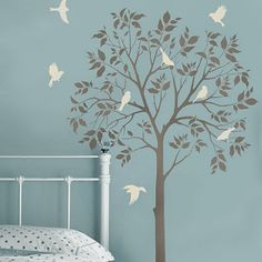 Abstract dark tree butterfly wall stickers decals art for - Stencil parete albero ...