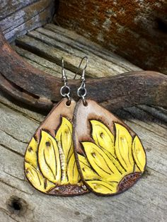 Leather Sunflower Tear Drop Earrings by ArteVae on Etsy