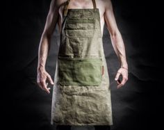 Denim apron with cowhide leather pockets and by KrukGarage on Etsy