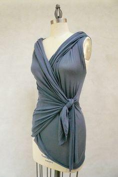 Maria Severyna Slate Blue Wrap Top