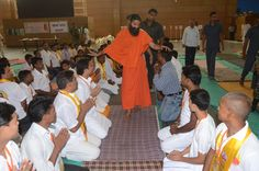 Youths taking blessings of #Yoga guru Swami Ramdev ji at yuva shivir #Patanjali yogpeeth #Haridwar.