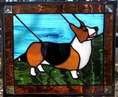 Stained glass corgi