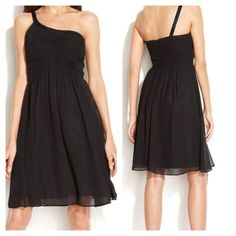 """4 &10 CK Beaded One Shoulder Chiffon Sheath Dress Calvin Klein beaded one shoulder chiffon dress / gorgeous dress / hits just below the knees / Does not stretch / very flattering / Ruched bodice / Laying flat & measuring across : bust 15"""" Waist 13"""" / Length 38"""" / 100% Polyester Calvin Klein Dresses"""