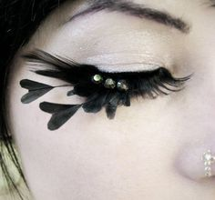 feather lashes w/black hearts and Swarovski crystals