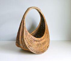 Mid Century Gondola Shopping Basket  Wicker