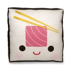 Decorative Mini Throw Pillow, Kawaii Print, Toy Pillow, Eco-Friendly Printed on Cotton Fabric - Yummy Tuna Sushi Roll. $18.00, via Etsy.