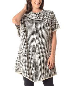 White & Black Contrast-Knit Asymmetric-Collar Sweater - Plus