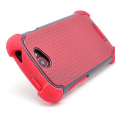Click Image to Browse: $9.95 Red X Shield Double Layer Hard Case Gel Cover For HTC One S