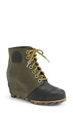 SOREL '1964 Premium Canvas' Waterproof Wedge Bootie (Women) available at #Nordstrom