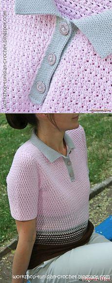 Блузка с воротником поло в технике тунисское вязание