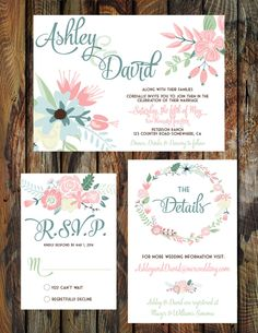 Floral Wedding Invitation Suite-Printable by RAWkonversations on Etsy https://www.etsy.com/listing/179808211/floral-wedding-invitation-suite