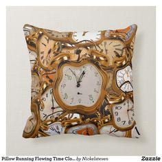 Shop Pillow Running Flowing Time Clock Watch Sleep Room created by Nickelsteven. Sofa Throw Pillows, Linen Pillows, Throw Pillow Cases, Decorative Throw Pillows, Sleep Room, Bed Room, Crochet Mermaid, Cushion Covers